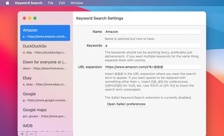 Safari Keyword Search