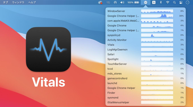 macOSのアクティビティモニタの代わりにVitalsを