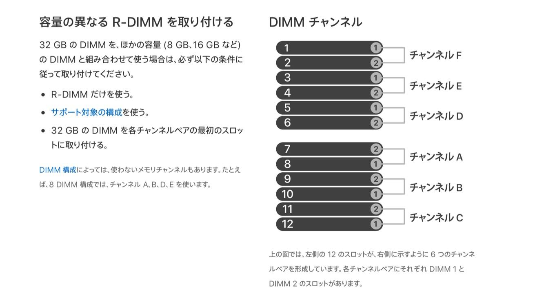 容量の異なる R-DIMM を取り付ける