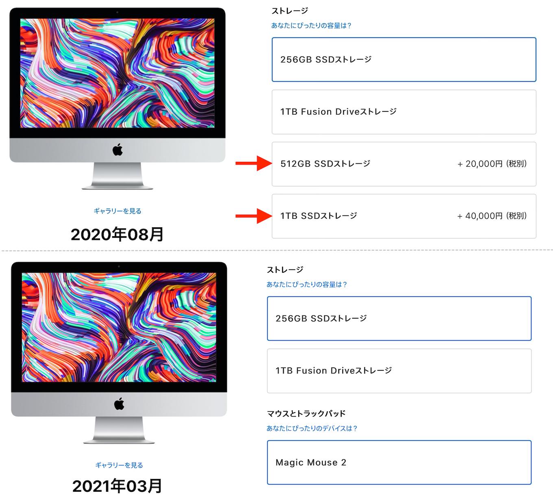 iMac (21.5インチ, 2019)のSSDオプション