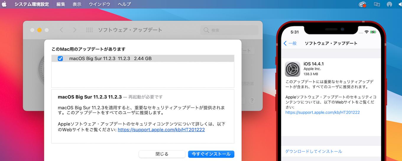 macOS Big Sur 11.2.3を適用すると、重要なセキュリティアップデートが提供されます。このアップデートをすべてのユーザに推奨します。