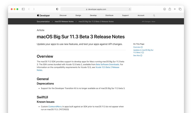 macOS Big Sur 11.3 Beta 3 Release Notes