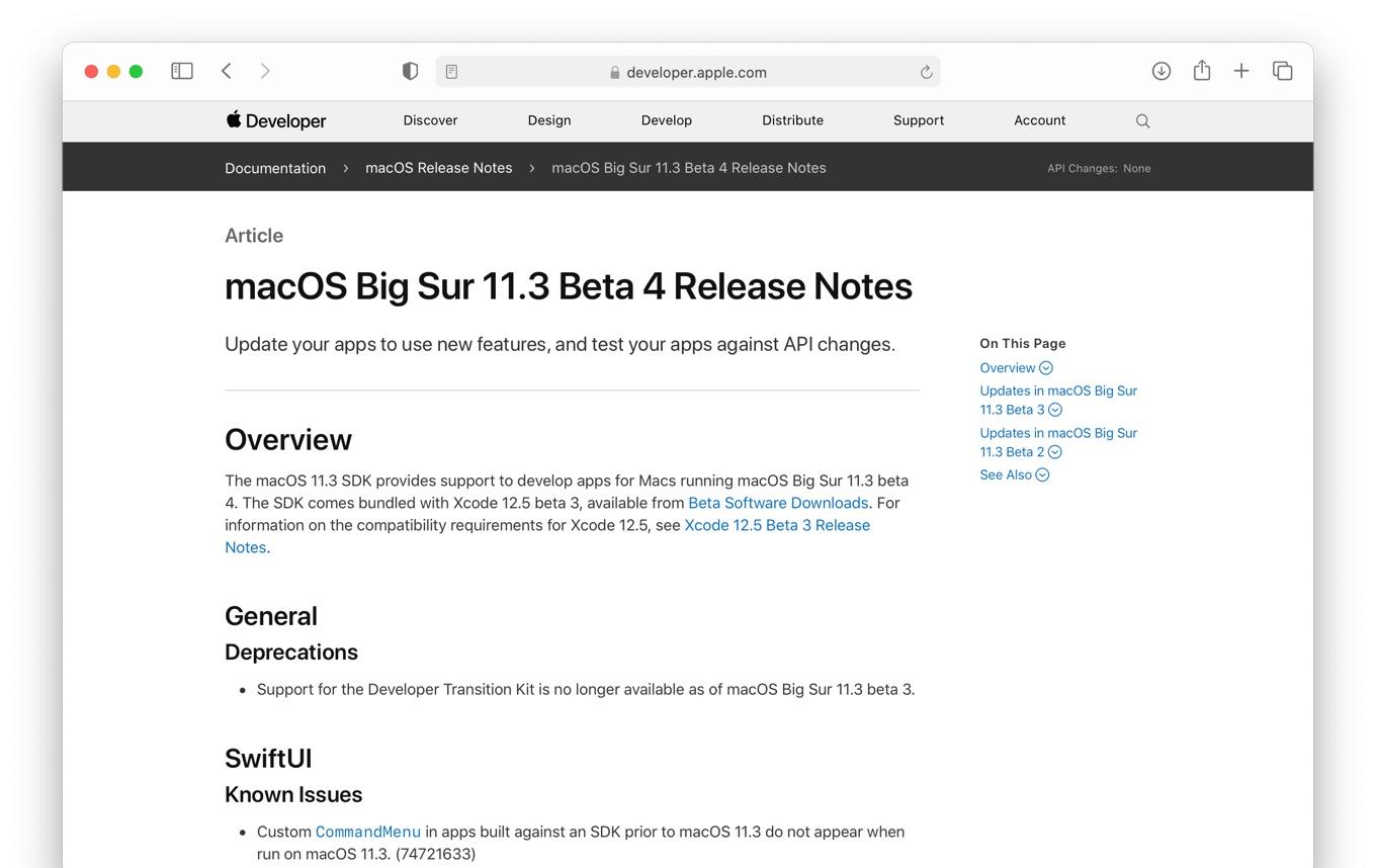 macOS Big Sur 11.3 Beta 4 Release Notes