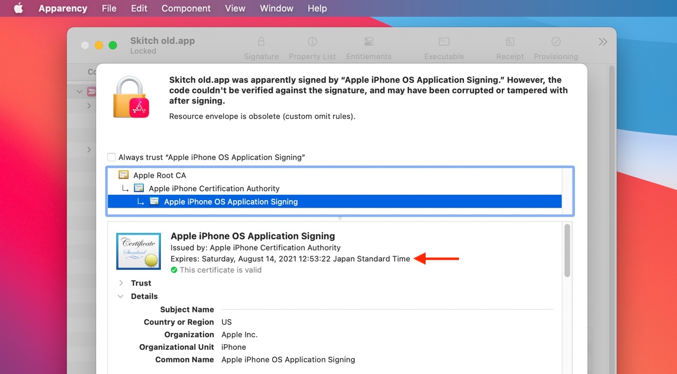 Apple iPhone OS Application Signing Expire