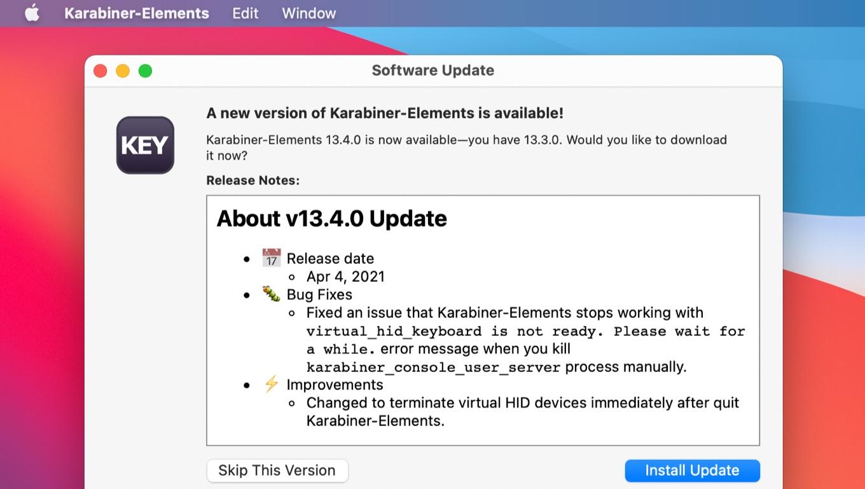 Karabiner-Elements v13.4.0 update
