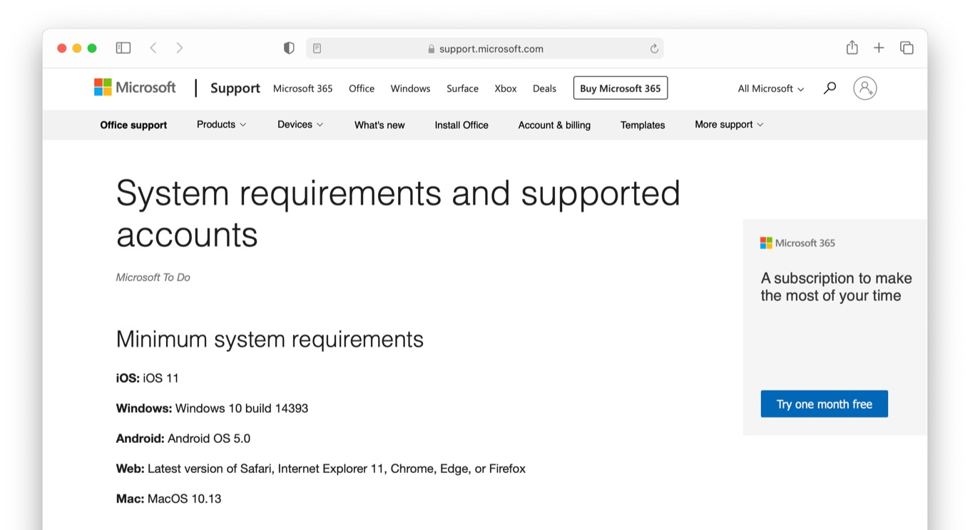 Microsoft To Do System requirements and supported accounts