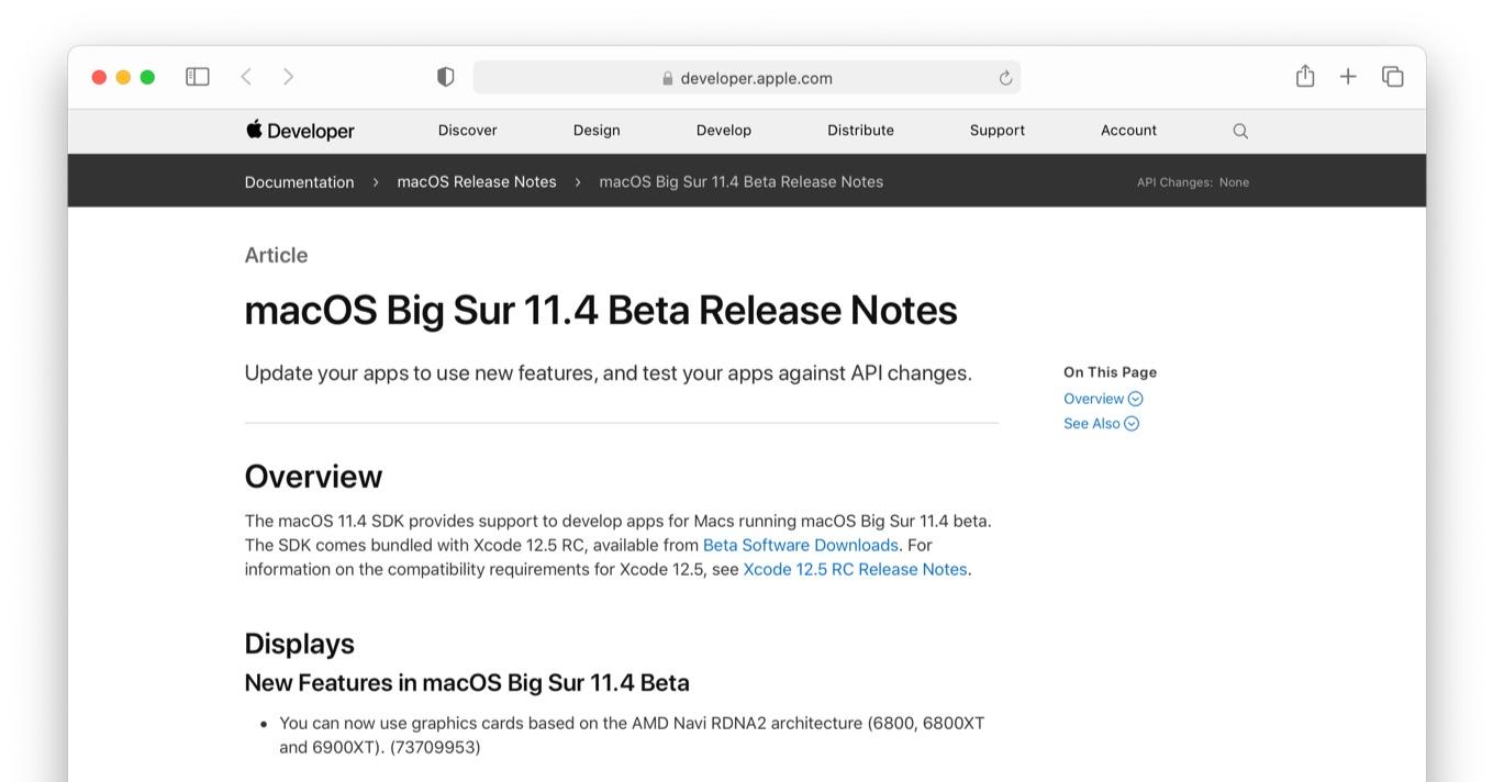 New Features in macOS Big Sur 11.4 Beta AMD Navi RDNA2