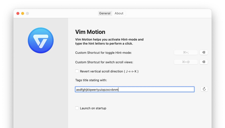 Vim Motion for Mac Preference