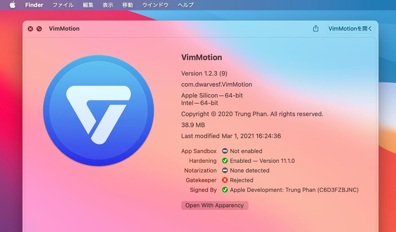 Vim Motion no Apple Notarization