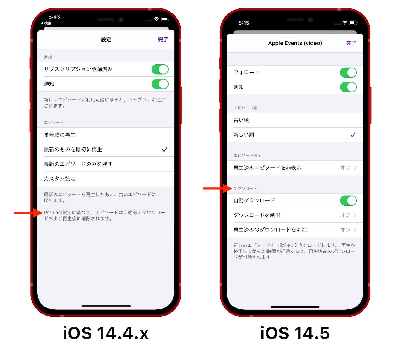 iOS 14.5のPodcastエピソード自動ダウンロード機能