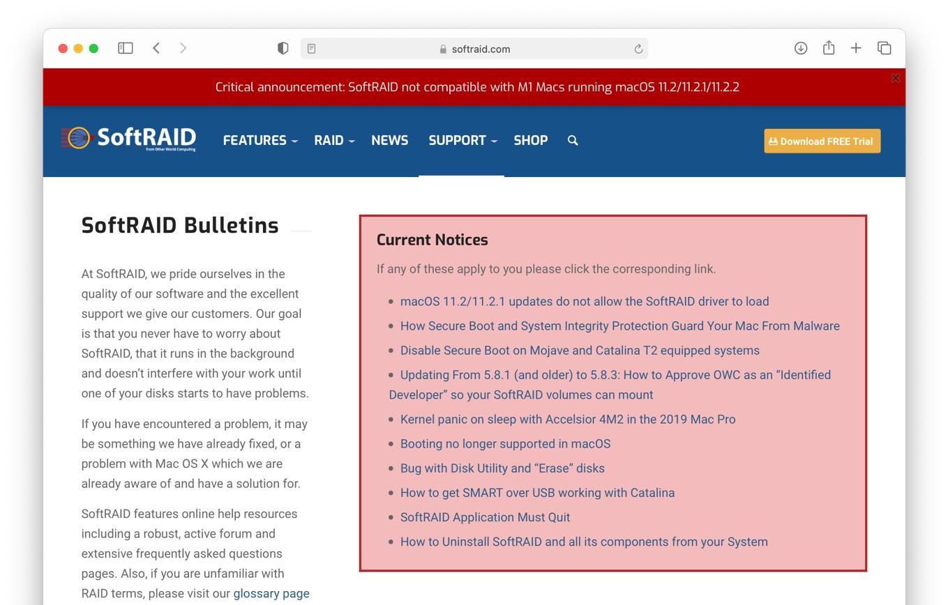 SoftRAID macOS 11.2 Big Sur issues