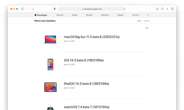 macOS Big Sur 11.3 beta 8 Build 20E5231a