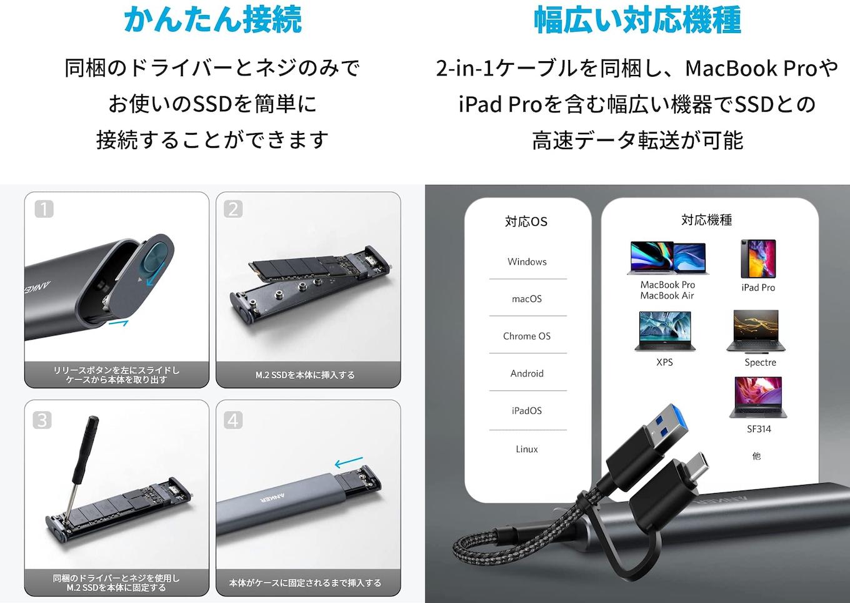 Anker PowerExpand M.2 SSD ケースの互換性