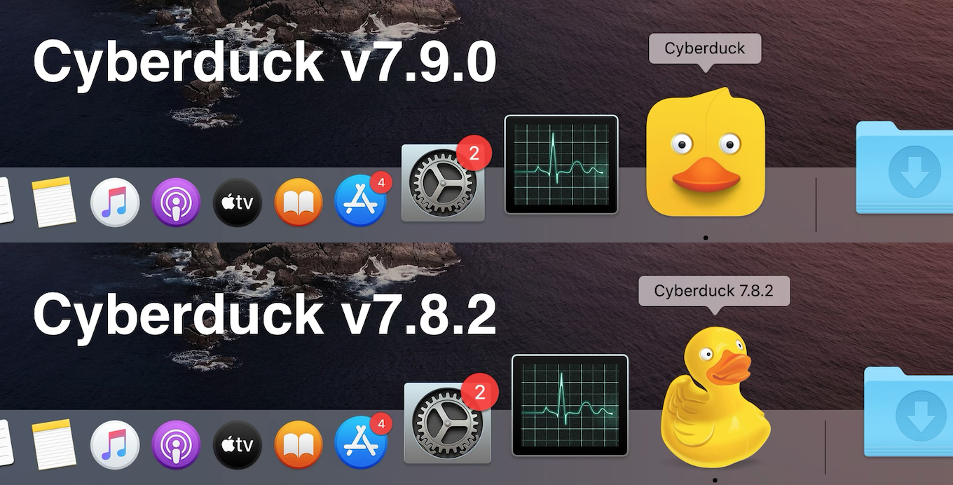Cyberduck v7.9 new big sur style icon