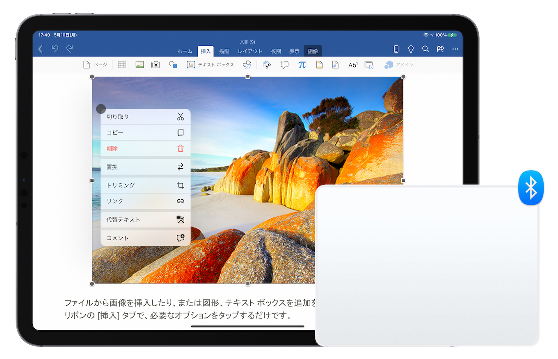 Word for iPadOSコンテキストメニュー