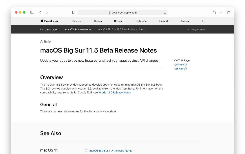 macOS Big Sur 11.5 Release Notes