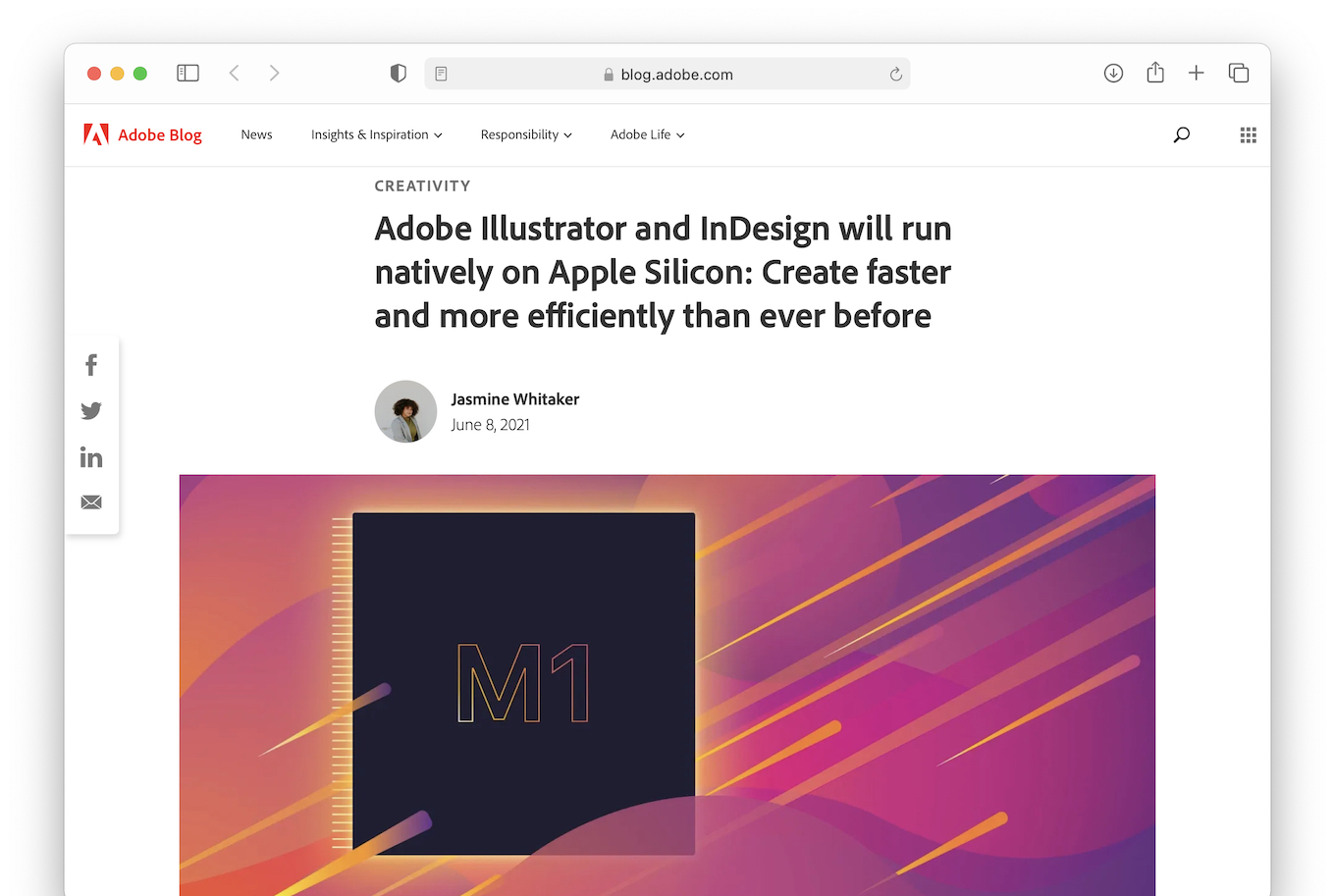 Adobe Illustrator and InDesign will run natively on Apple Silicon