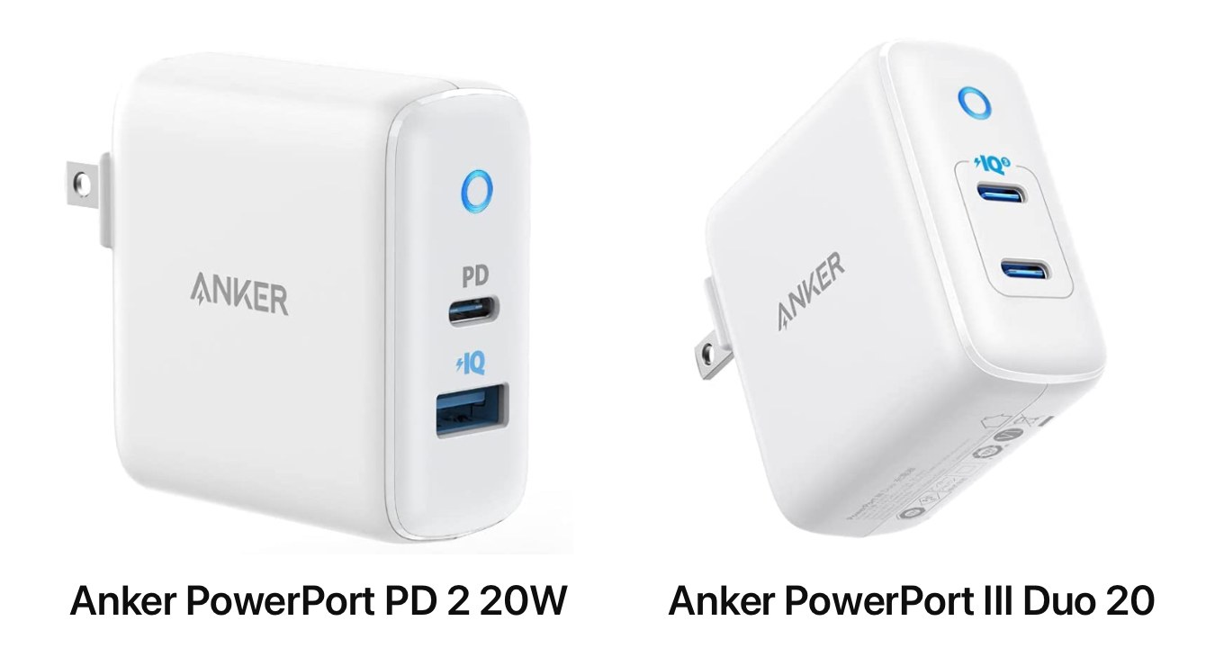 Anker PowerPort PD 2 and III Duo 20W