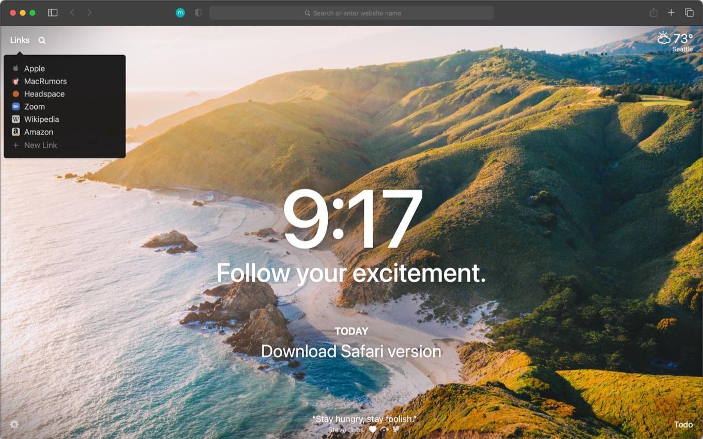 Momentum for Safari version
