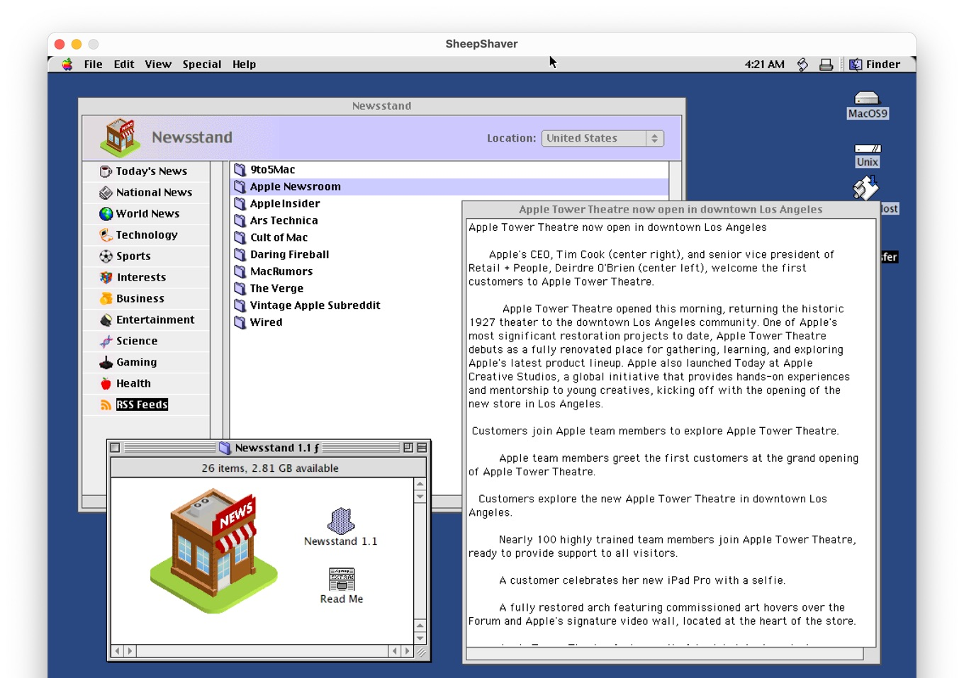 Newsstand for Mac OS 9 on SheepShaver