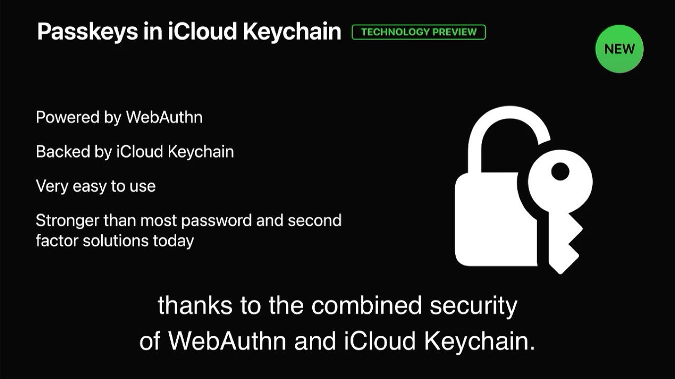 Passkeys in iCloud Keychain Technology Preview