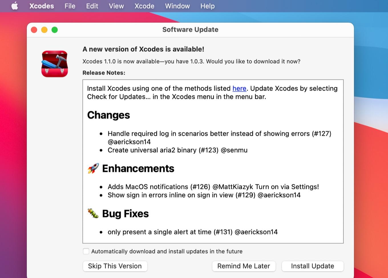 Xcodes v1.1.0リリースノート