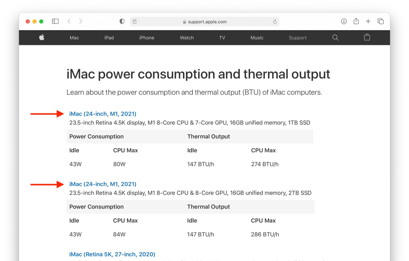 iMac power consumption and thermal output