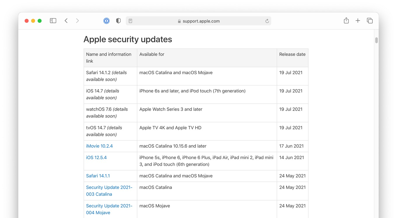 19 July 2021 Apple security updates