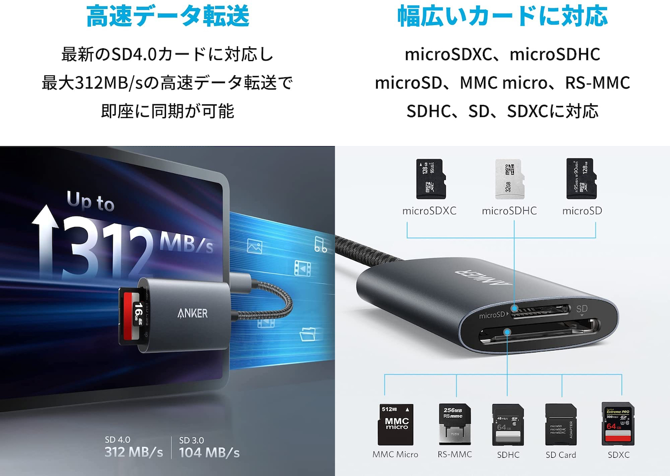 Anker PowerExpand 2-in-1 SD 4.0 Card Reader spec