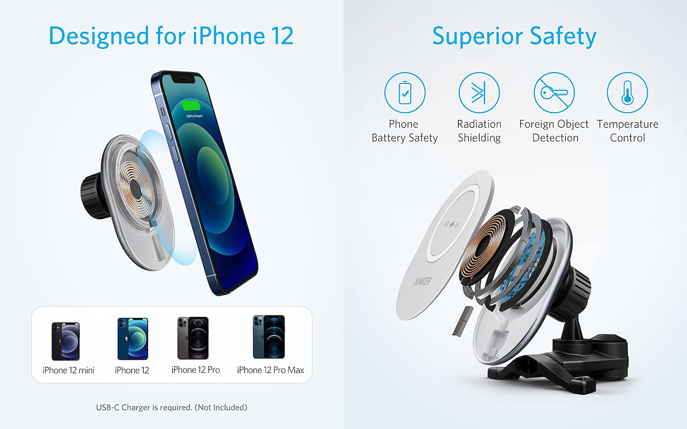 Anker PowerWave Magnetic Car Charging Mount for iPhone12