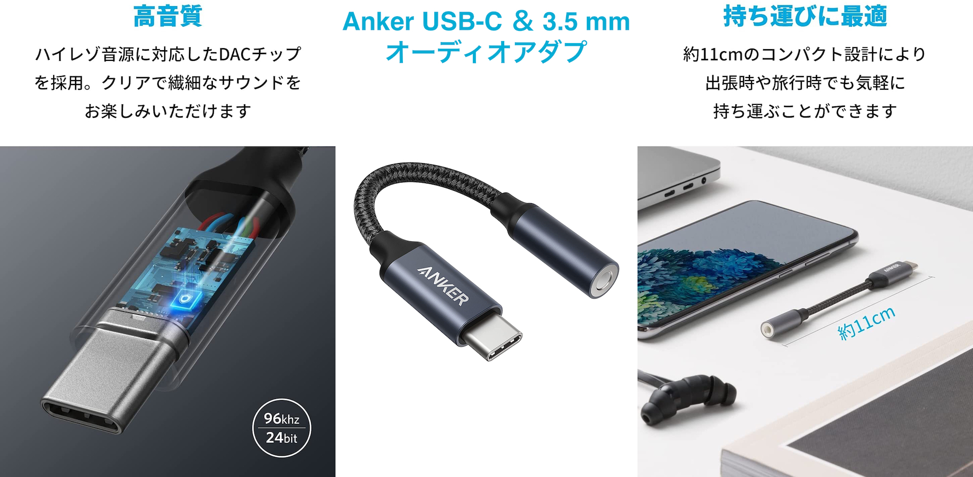 Anker USB-C & 3.5 mm オーディオアダプ