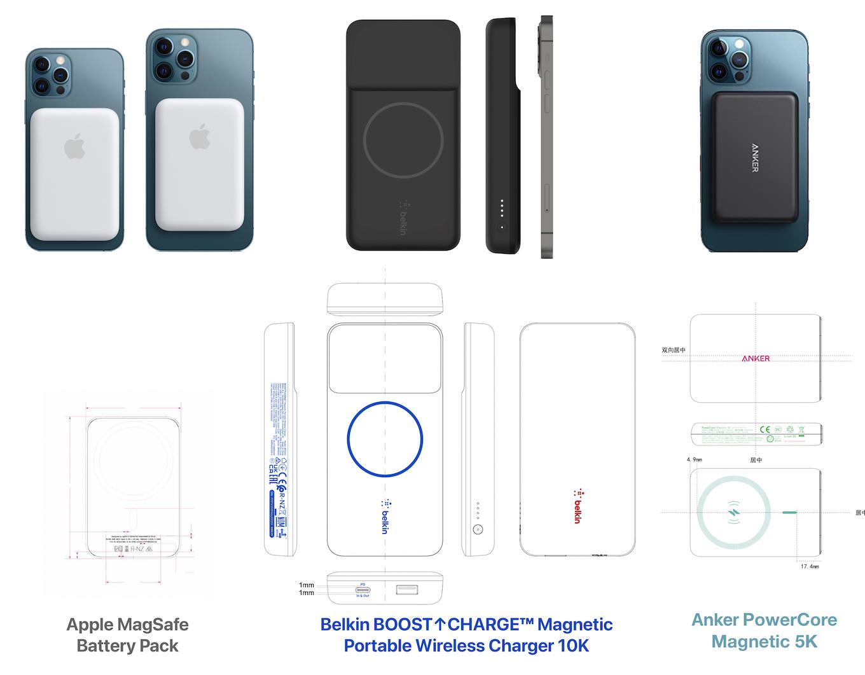 Apple MagSafe Battery PackとBelkin, Ankerのワイヤレスモバイルバッテリー