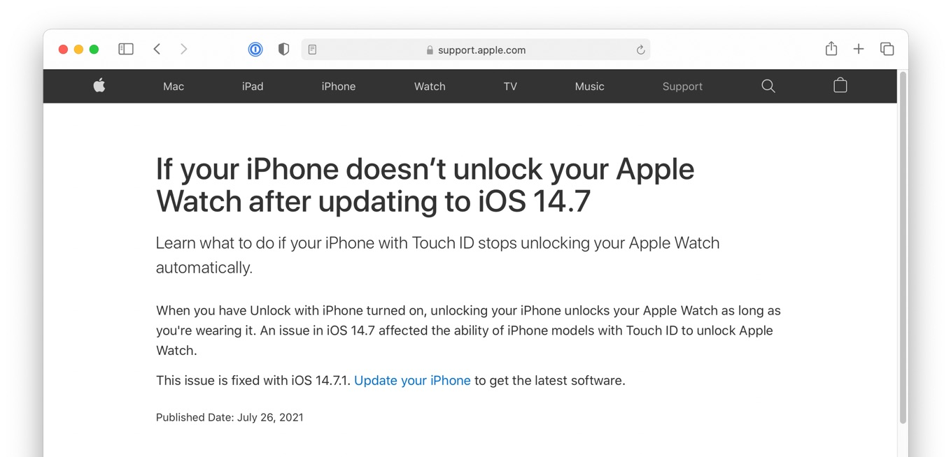 If your iPhone doesnt unlock your Apple Watch after updating to iOS 14.7