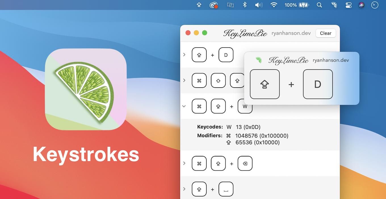 Keystrokes keyboard shortcut log window