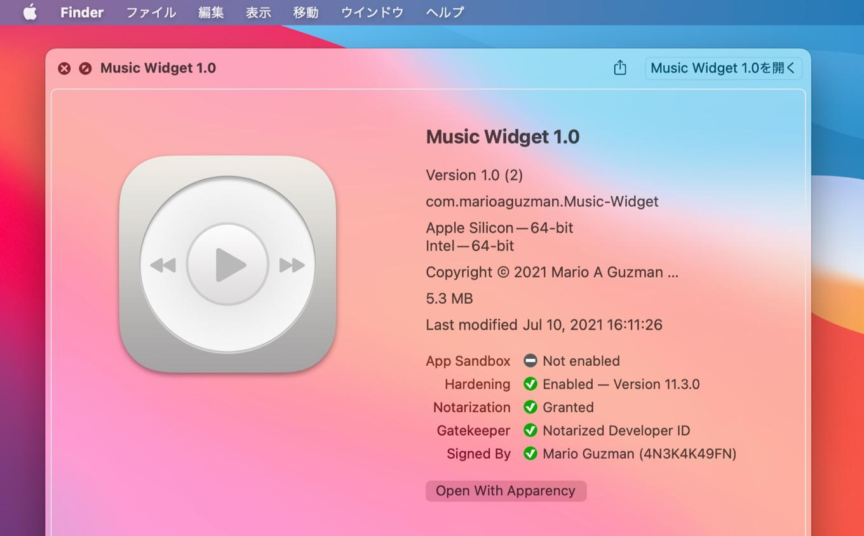 Music Widget for macOS v1.0