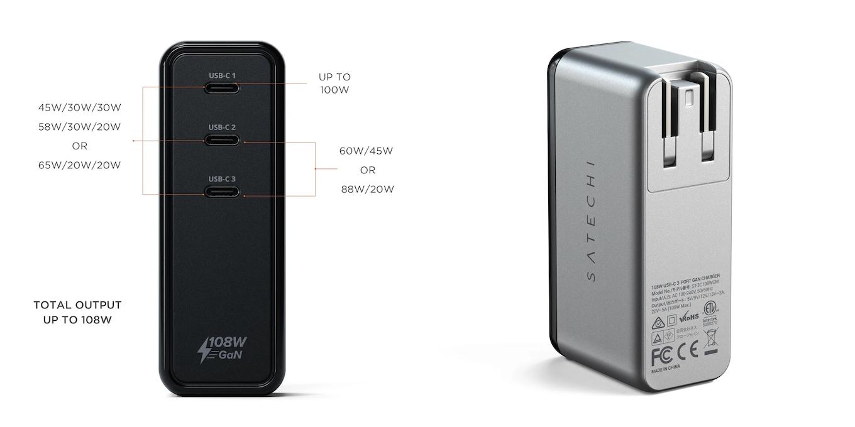 Satechi 108W USB-C 3-Port GaN Wall Charger