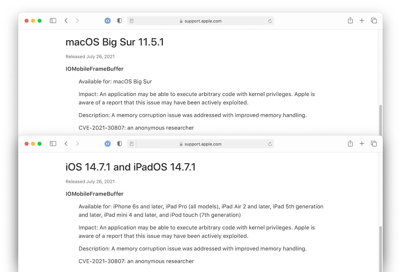 macOS Big Sur 11.5.1 and iOS 14.7.1 and iPadOS 14.7.1
