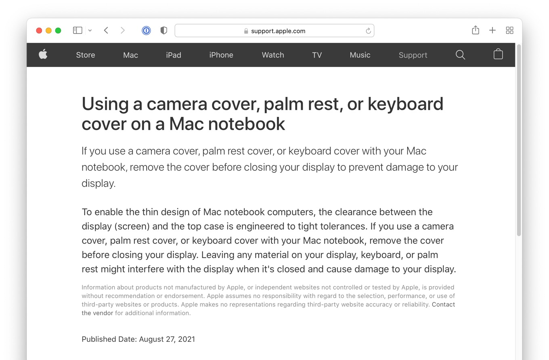Camera palmrest or keyboard cover damage display