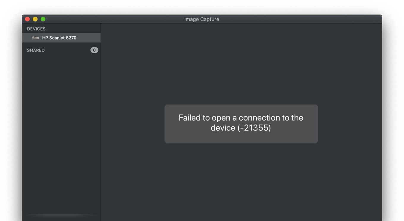 Failed to open a connection to device -21355