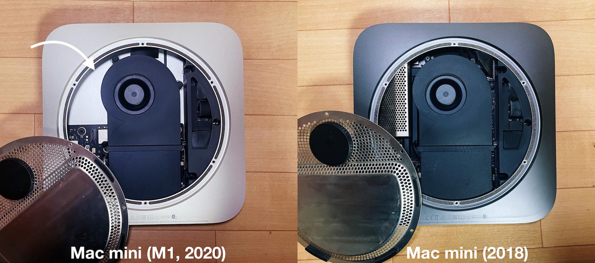 Mac mini (M1, 2020)とMac mini (2018)の内部