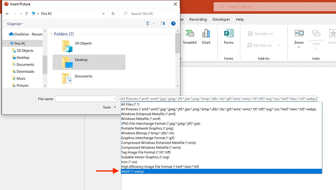 Office for Windows support WebP