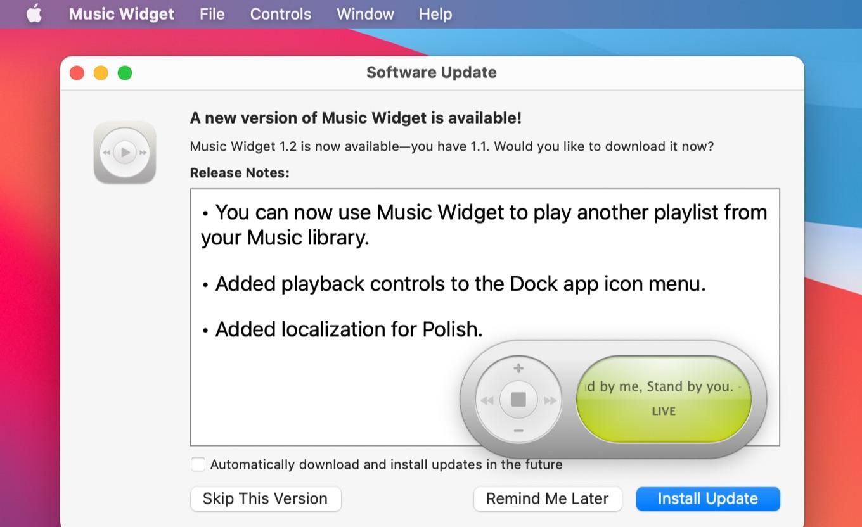 Music Widget for macOS v1.2