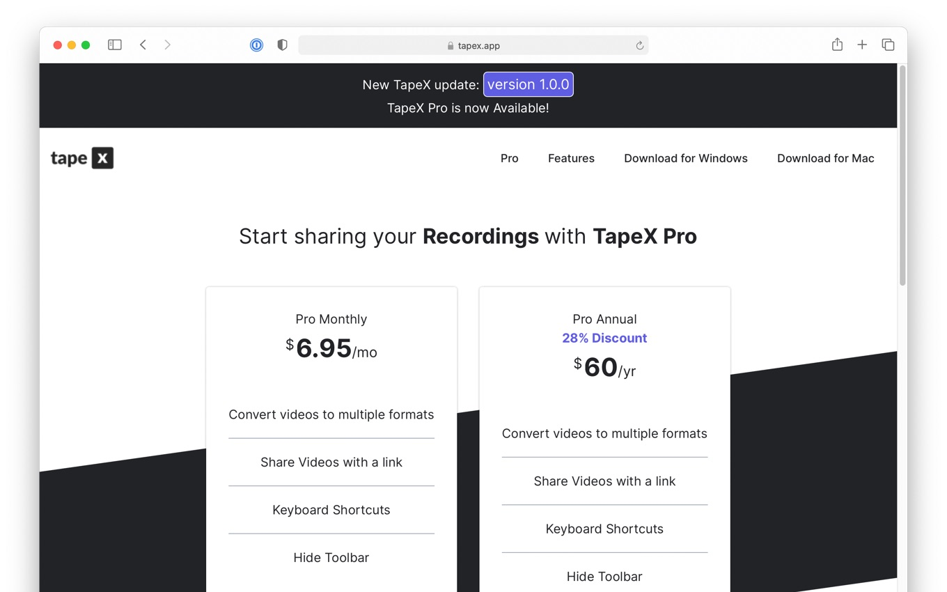 Start sharing your Recordings with TapeX Pro