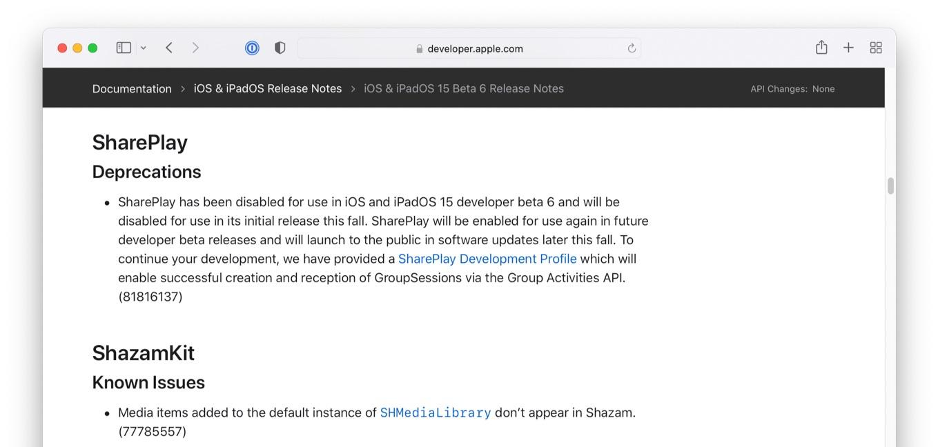 iOS 15 beta 6 disabled SharePlay