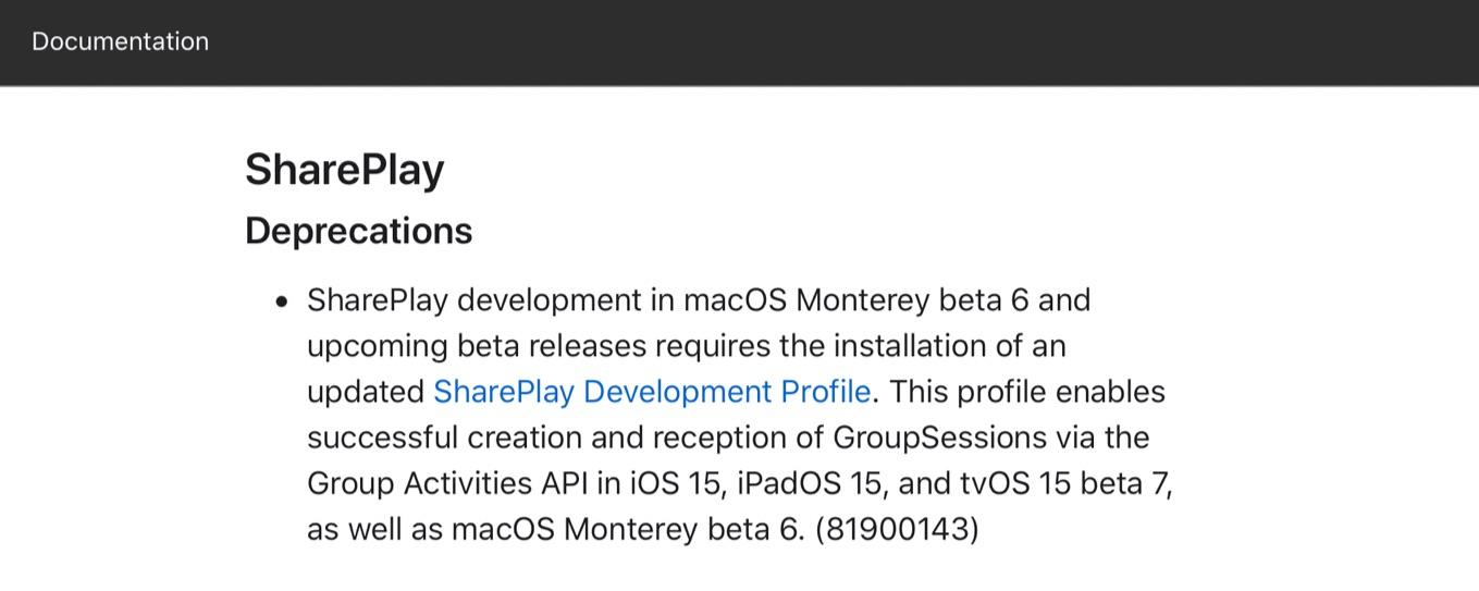 macOS Monterey beta 6 SharePlay Deprecations
