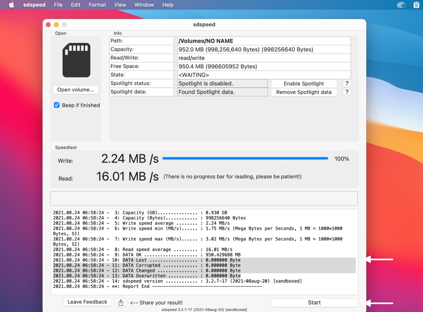 sdspeed for macOS f3write read check