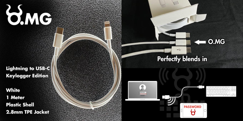O.MG Cable Lightning to USB-C Keylogger