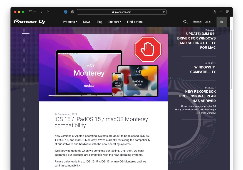 iOS 15 / iPadOS 15 / macOS Monterey compatibility
