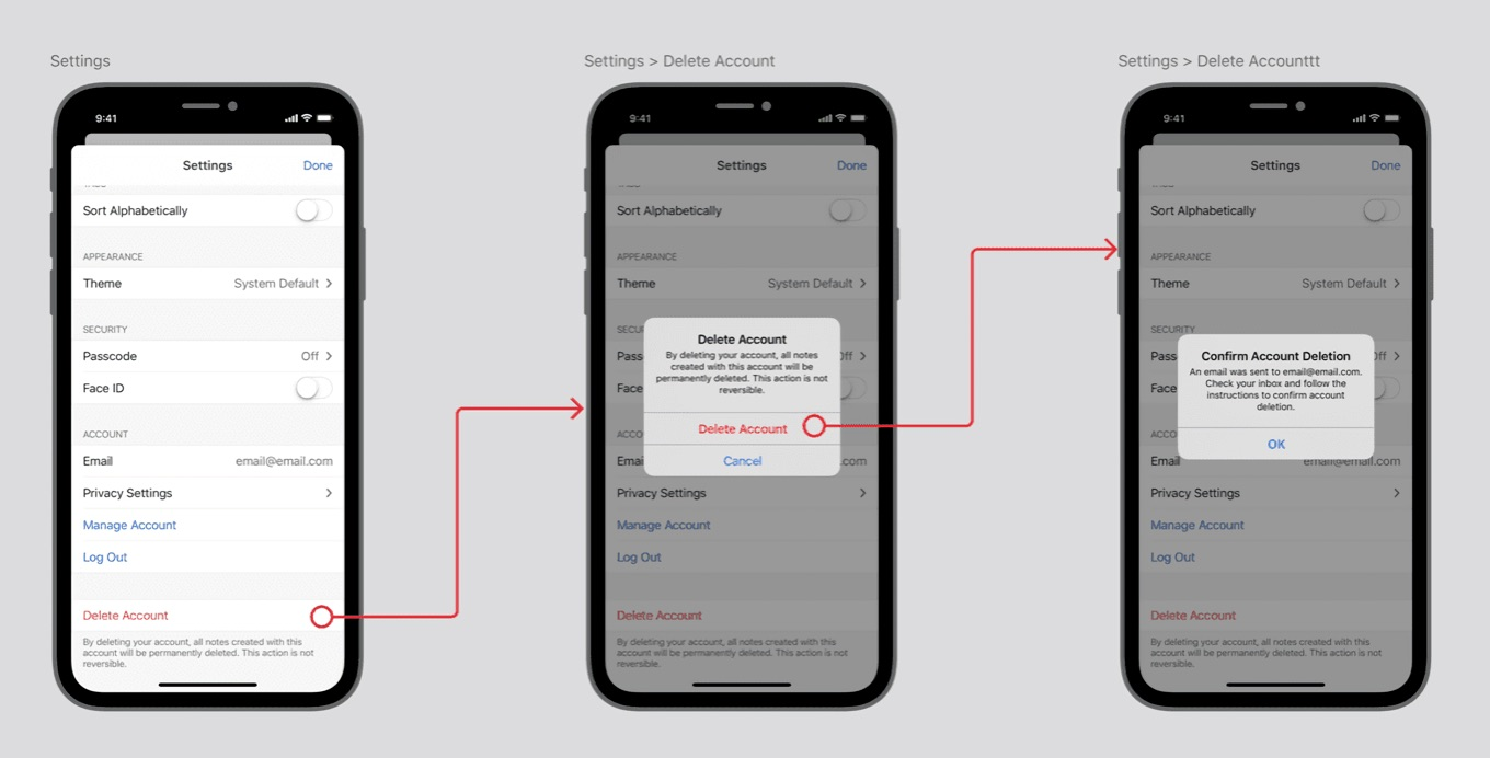 Simplenote In app account deletion