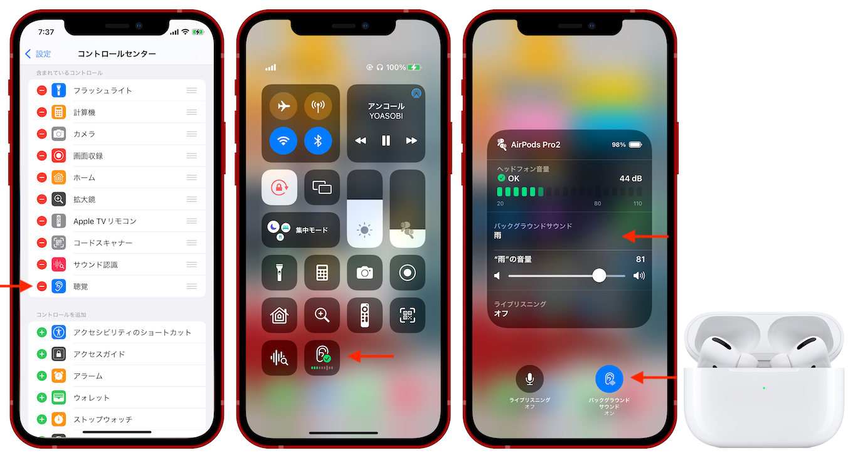 iOS15のバックグラウンドサウンドとコントロールセンター
